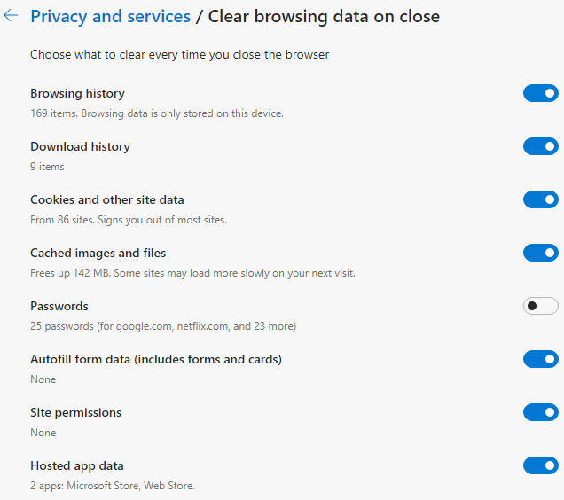 Microsoft Edge - Clear browsing data on close