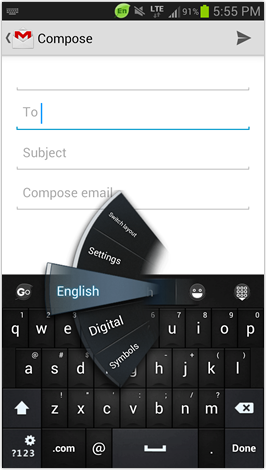 Go Keyboard - Default theme - quick select menu