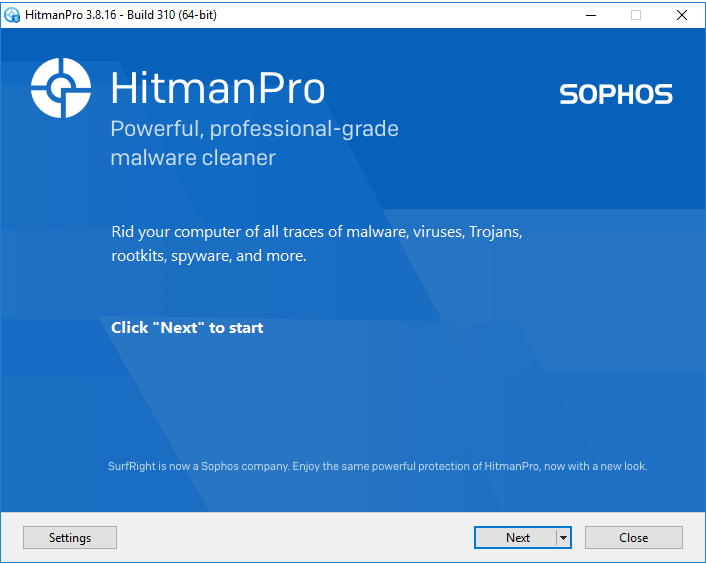 Screenshot of HitmanPro app - main screen