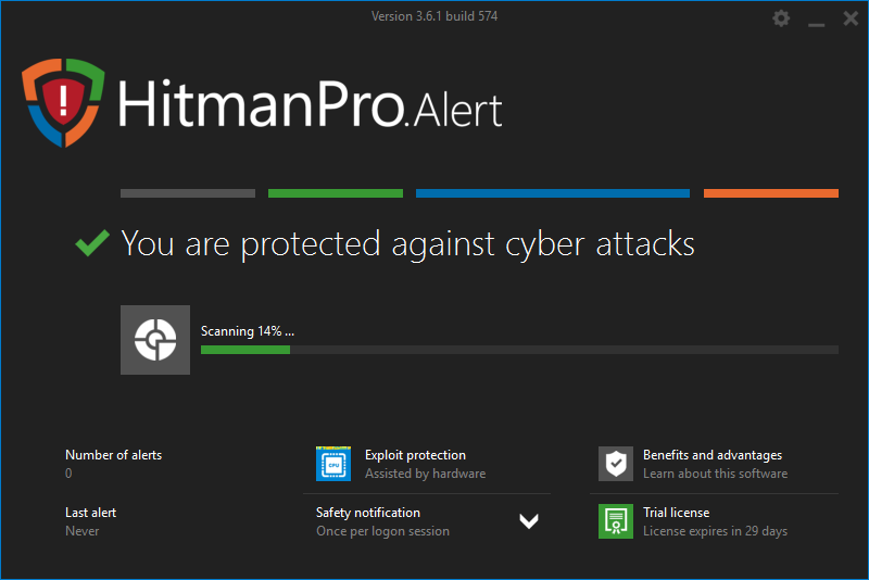 Screenshot of HitmanPro.alert app - Scanning