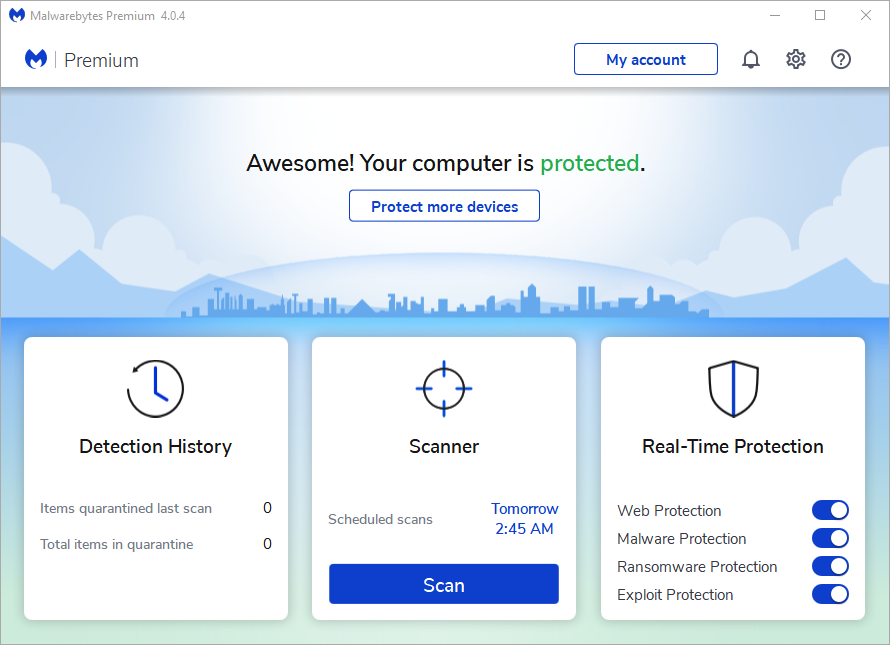 Screenshot of Malwarebytes Premium Main screen