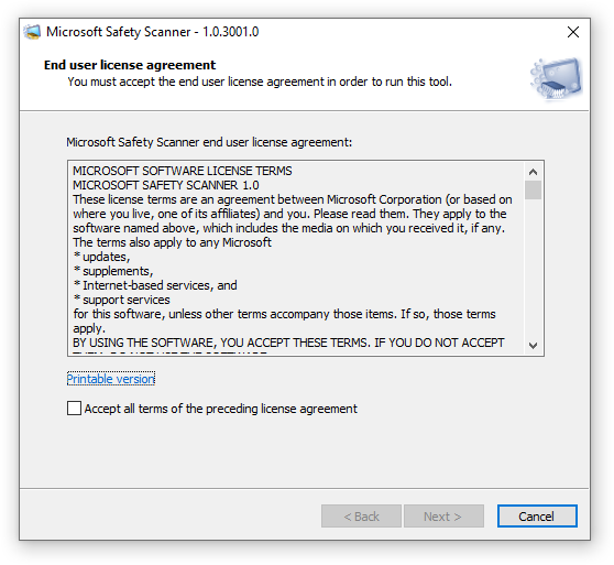 Microsoft Safety Scanner End user license agreement
