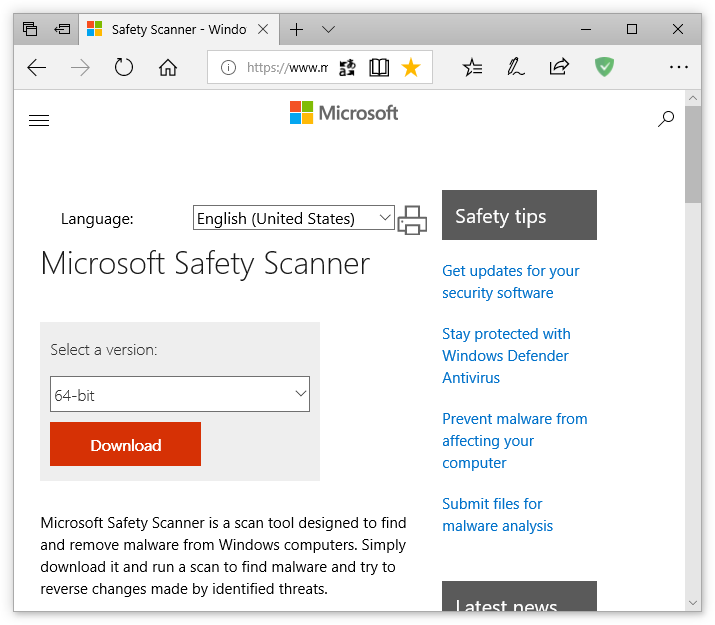 Microsoft Safety Scanner original download page