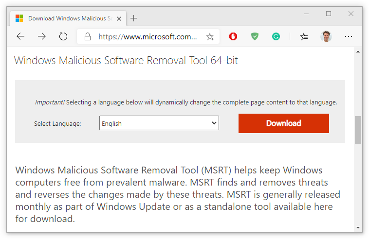 Windows Malicious Software Removal Tool page screenshot