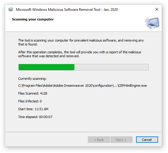 Scanning your computer with Microsoft Windows Malicious software Removal Tool