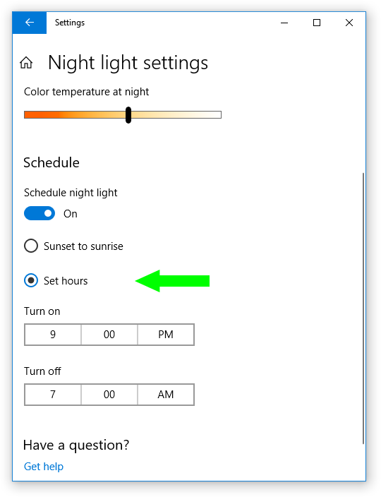 Night light settings - Set hours