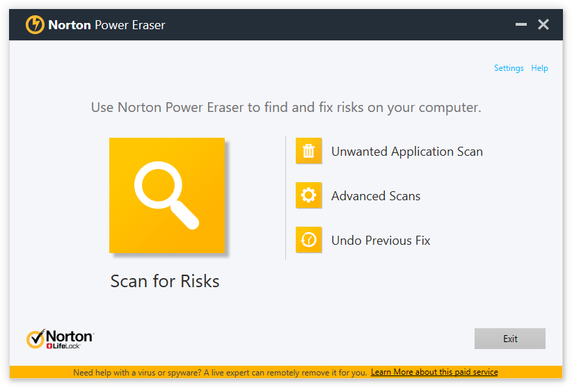 Screenshot of Norton Power Eraser - main screen