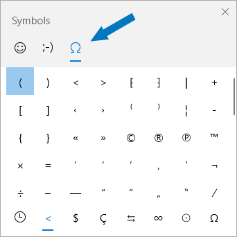 Windows 10 Symbols panel