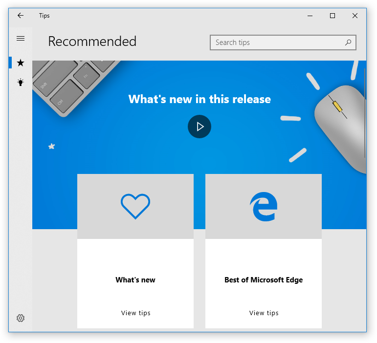 Windows 10 Get Started app. What's new