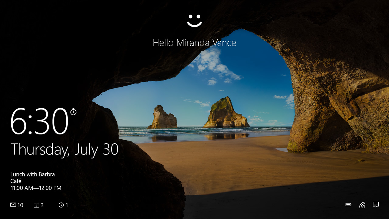 Windows 10 desktop showing Windows Hello