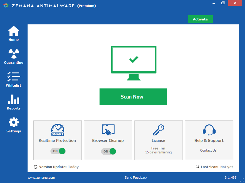 Zemana AntiMalware (Premium) - Home
